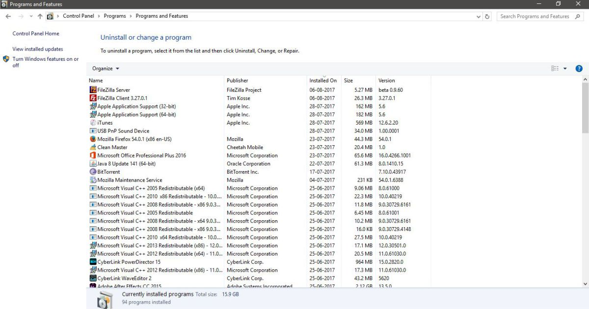 how to find recently installed programs in windows 7